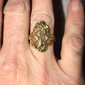 """Brand new, Gold plated """"J"""" initial ring"""